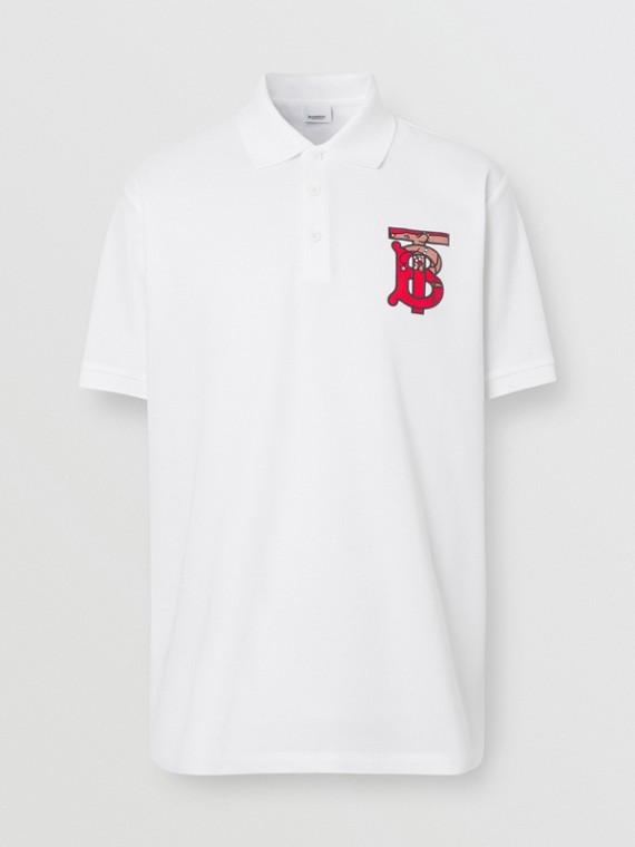 Monogram Motif Cotton Piqué Oversized Polo Shirt in White