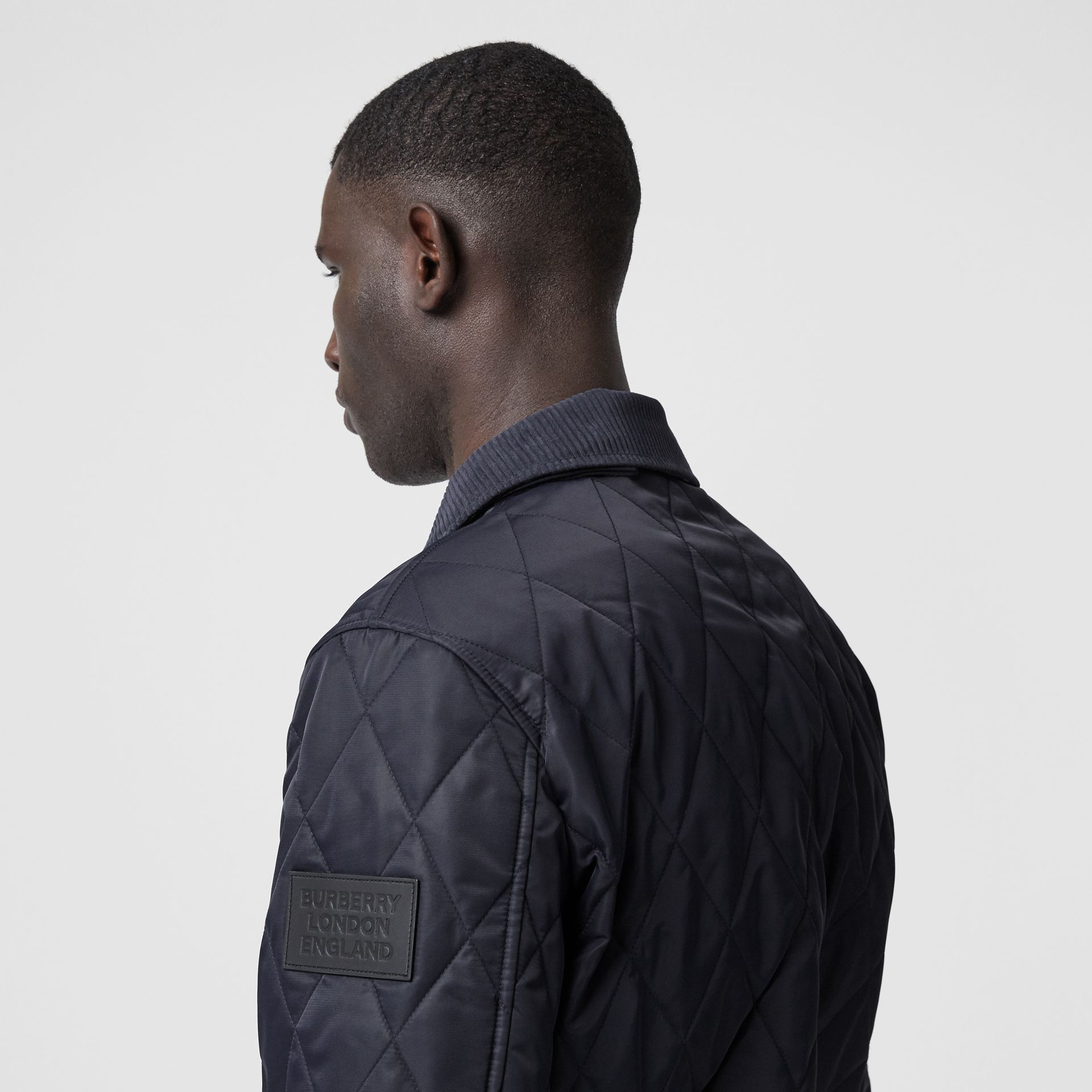 Diamond Quilted Thermoregulated Jacket in Navy - Men | Burberry - gallery image 4