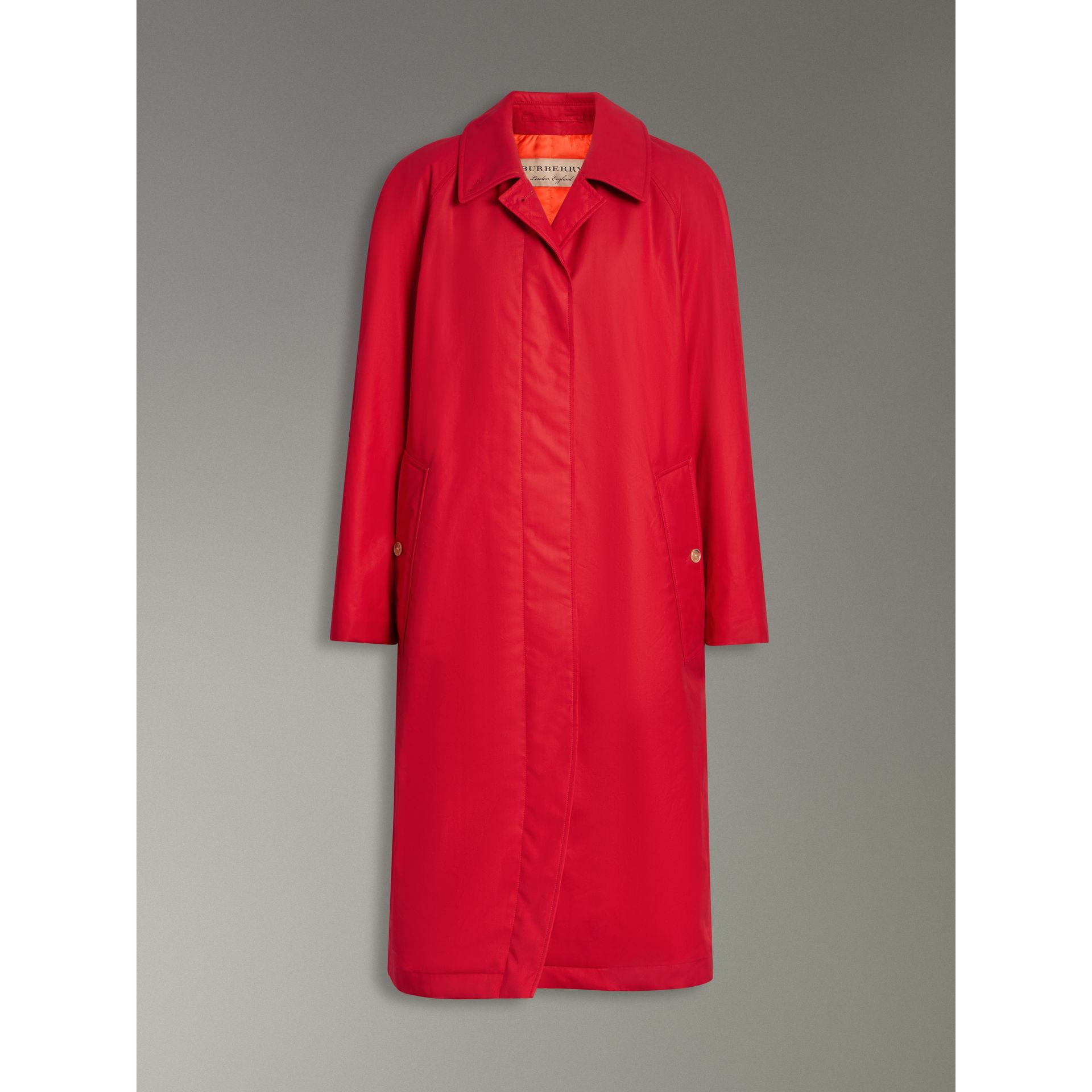 Oversized Cotton Car Coat in Parade Red - Women | Burberry United Kingdom - gallery image 3