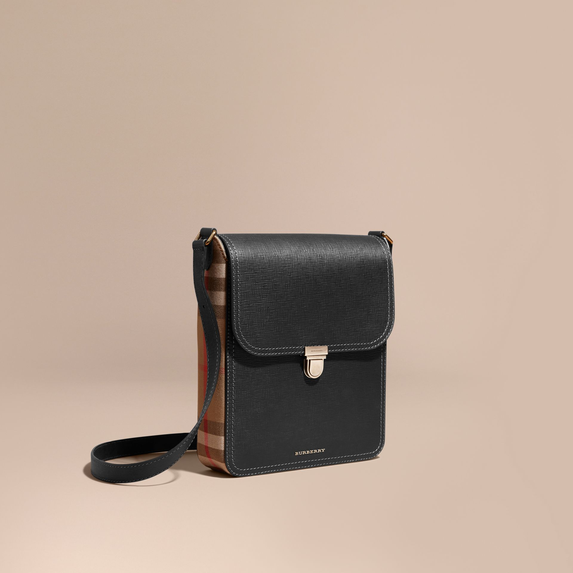Black The Medium Satchel in Textural Leather and House Check - gallery image 1