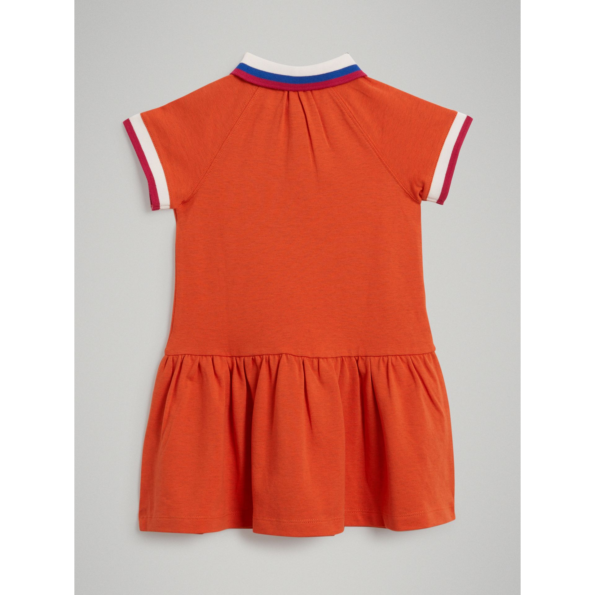 Stretch Cotton Polo Dress in Bright Clementine Melange - Girl | Burberry United Kingdom - gallery image 3