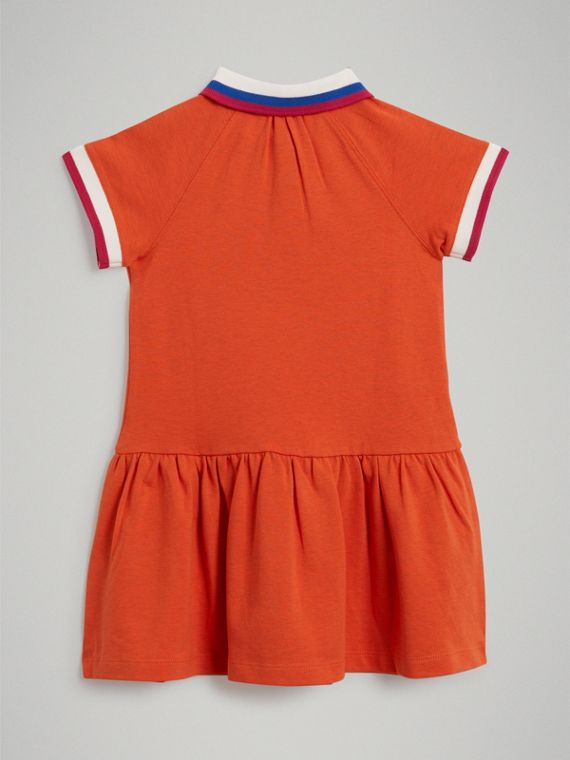 Stretch Cotton Polo Dress in Bright Clementine Melange - Girl | Burberry - cell image 3