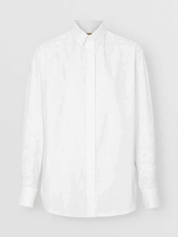 Floral Embroidered Cotton Dress Shirt in White - Women | Burberry - cell image 3
