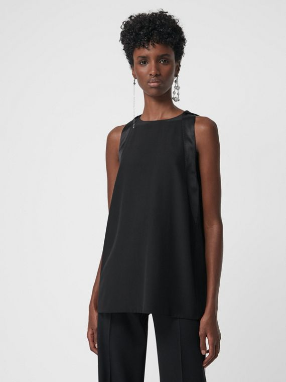 Sleeveless Panelled Silk Top in Black
