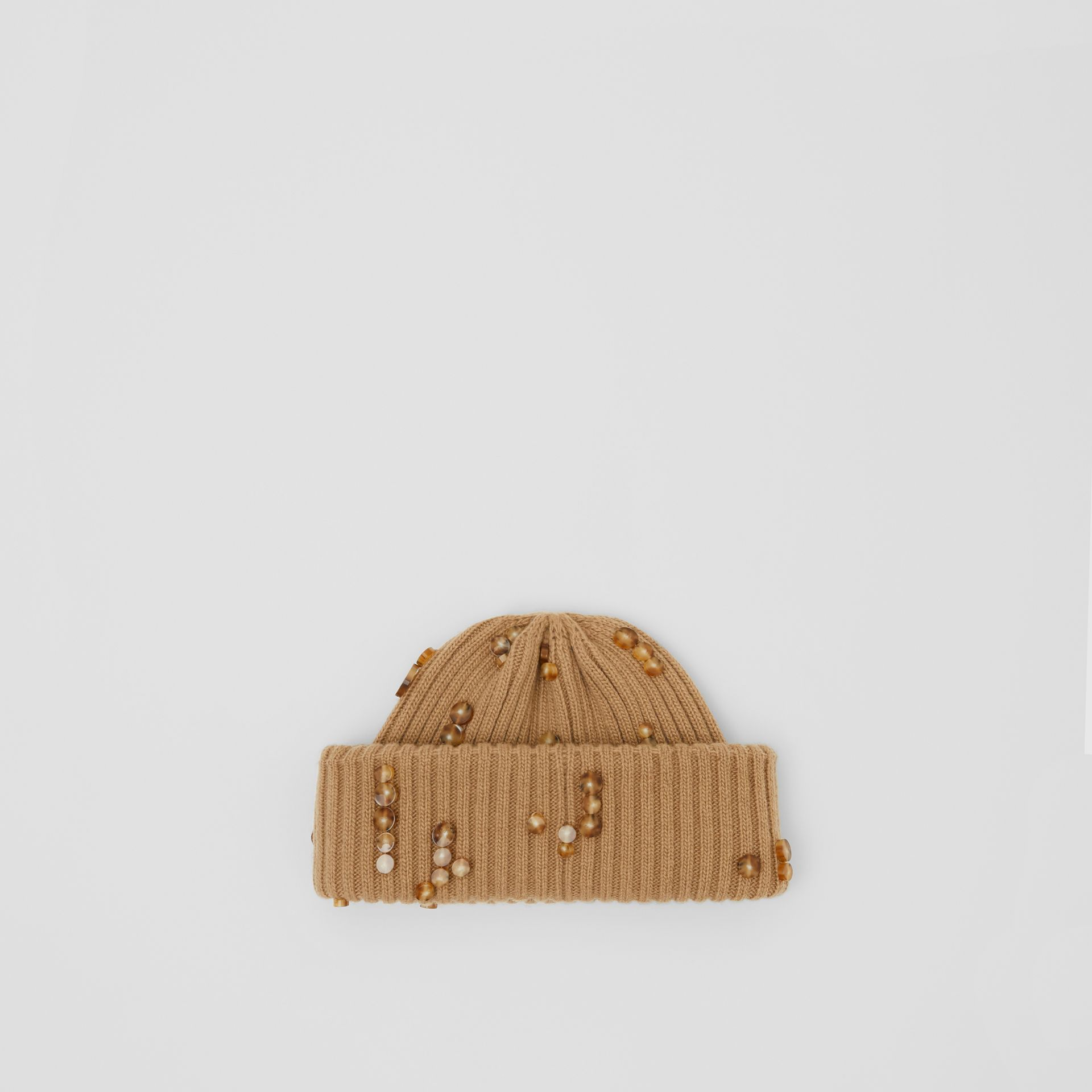 Embellished Rib Knit Wool Beanie in Warm Camel | Burberry United Kingdom - gallery image 2
