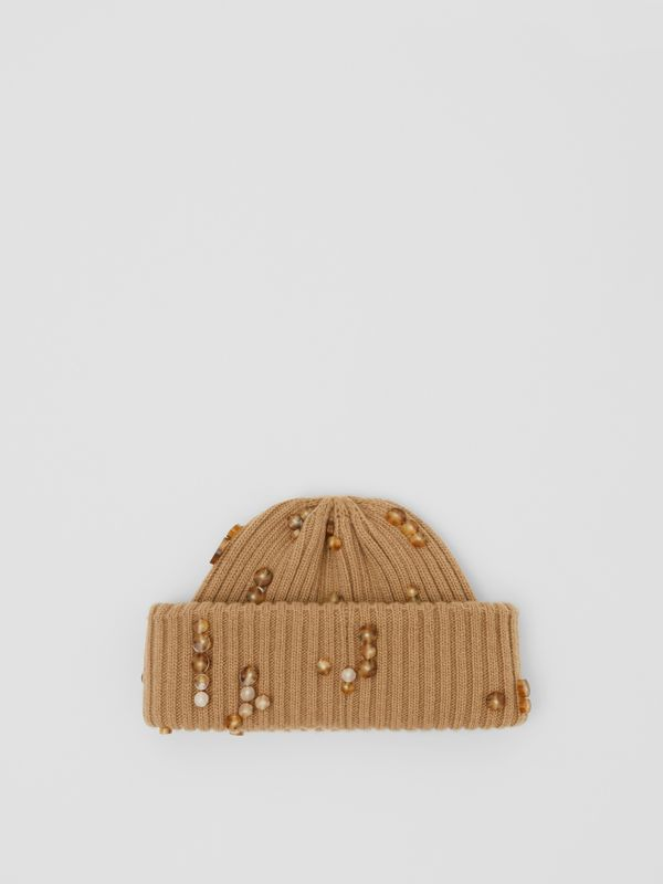 Embellished Rib Knit Wool Beanie in Warm Camel | Burberry - cell image 2