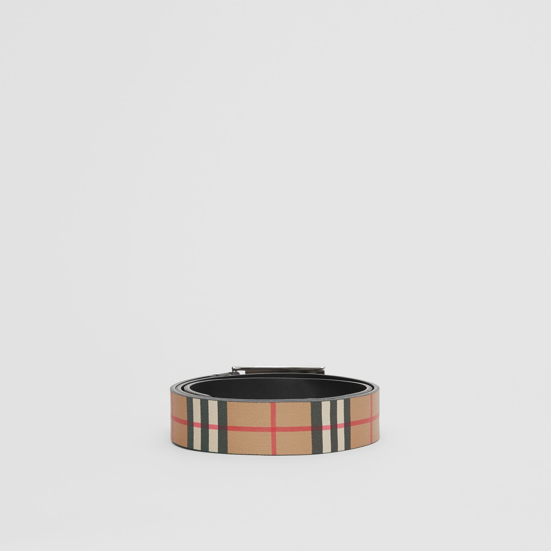 Plaque Buckle Vintage Check Leather Belt in Black - Men | Burberry Australia - gallery image 4