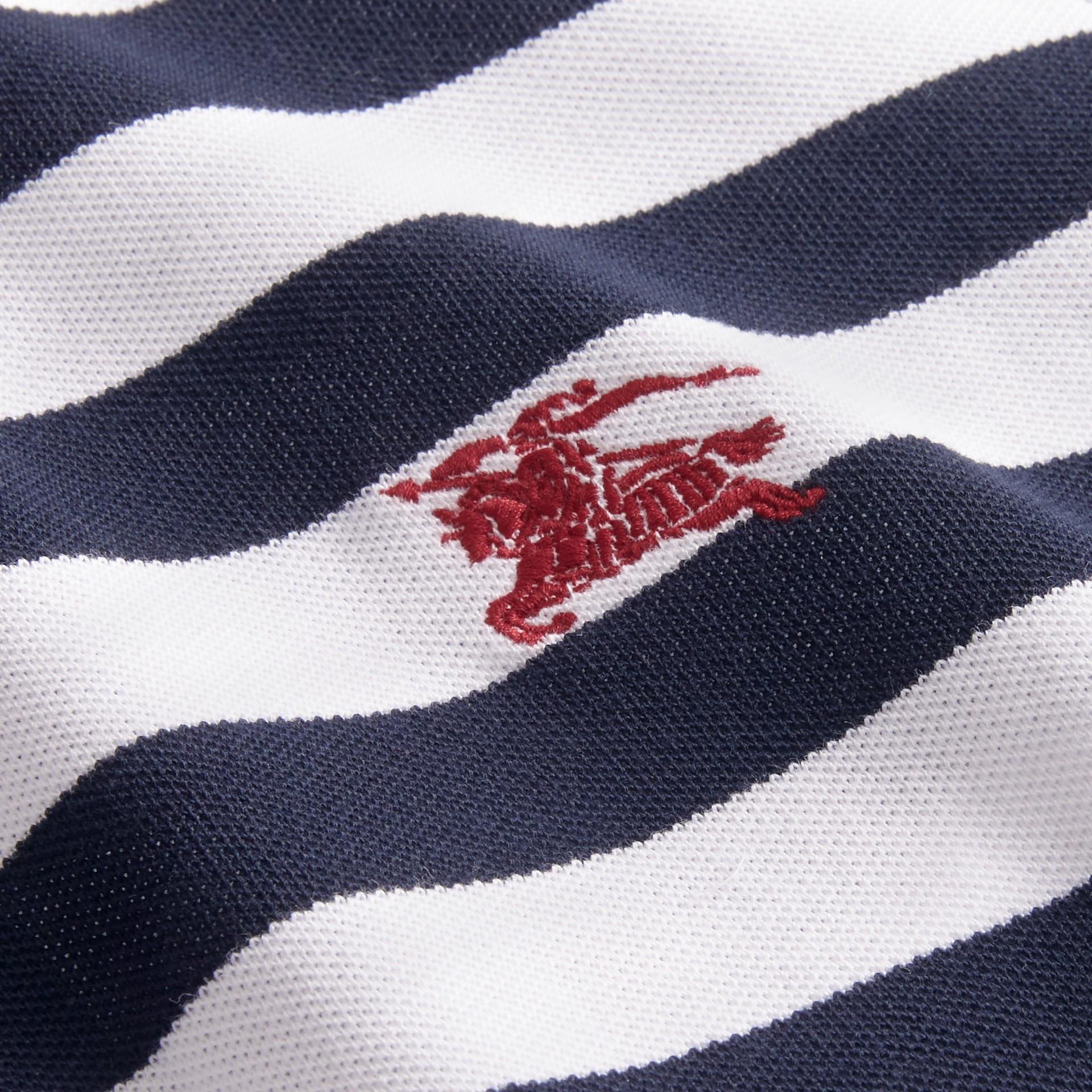 Striped Cotton Polo Shirt White/navy - gallery image 2