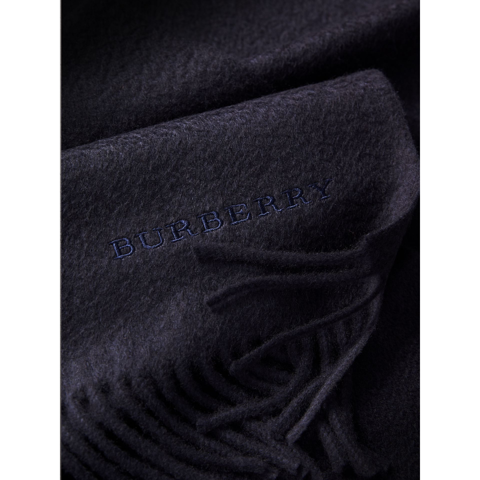 The Classic Cashmere Scarf in Navy | Burberry Australia - gallery image 5