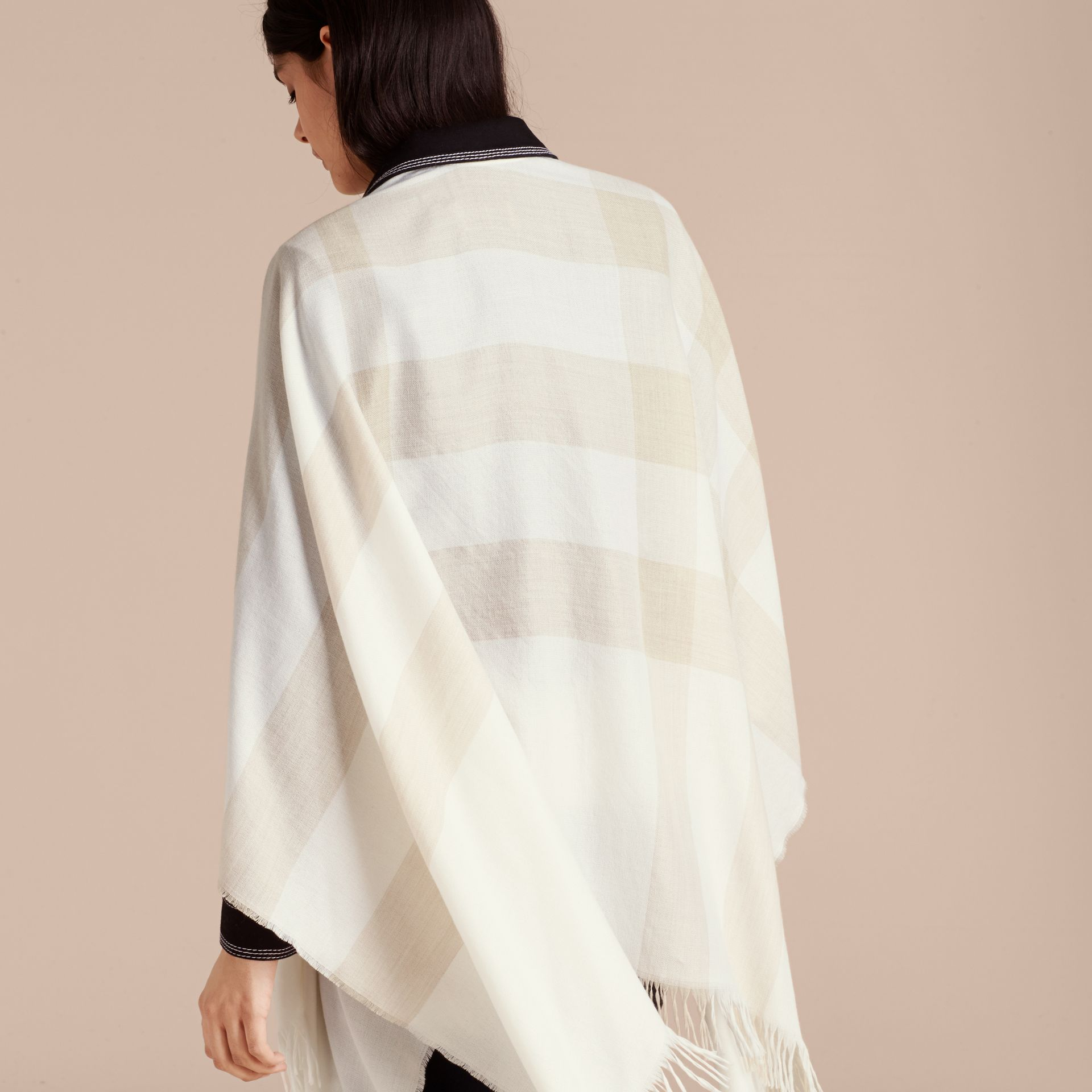 Lightweight Check Cashmere Poncho Natural White - gallery image 6