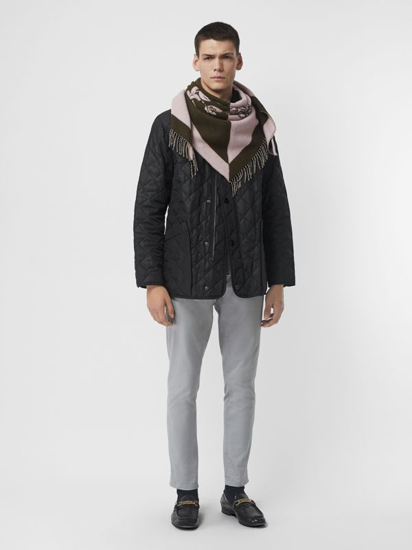 The Burberry Bandana in Crest Detail Wool Cashmere in Chalk Pink | Burberry Australia - cell image 3