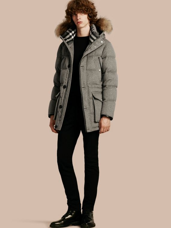 Down-filled Cashmere Parka with Detachable Fur Trim