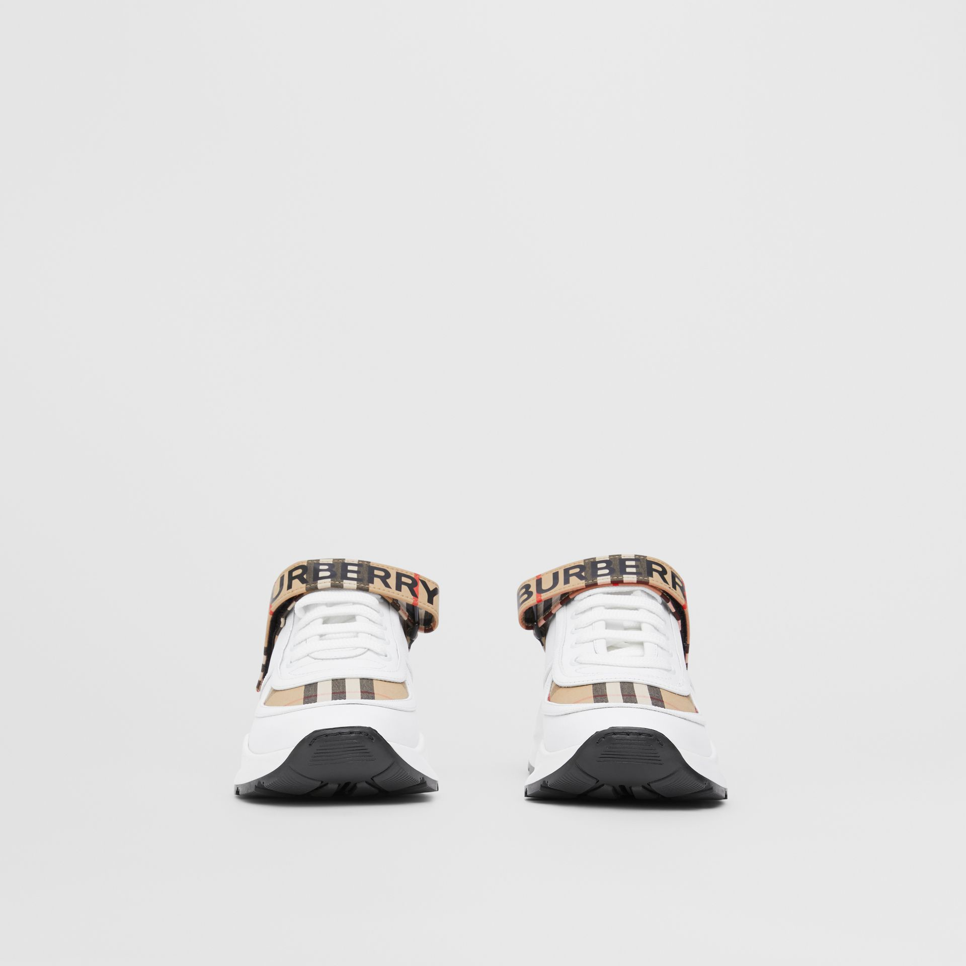 Logo Print Vintage Check and Leather Sneakers in Archive Beige - Women | Burberry - gallery image 3
