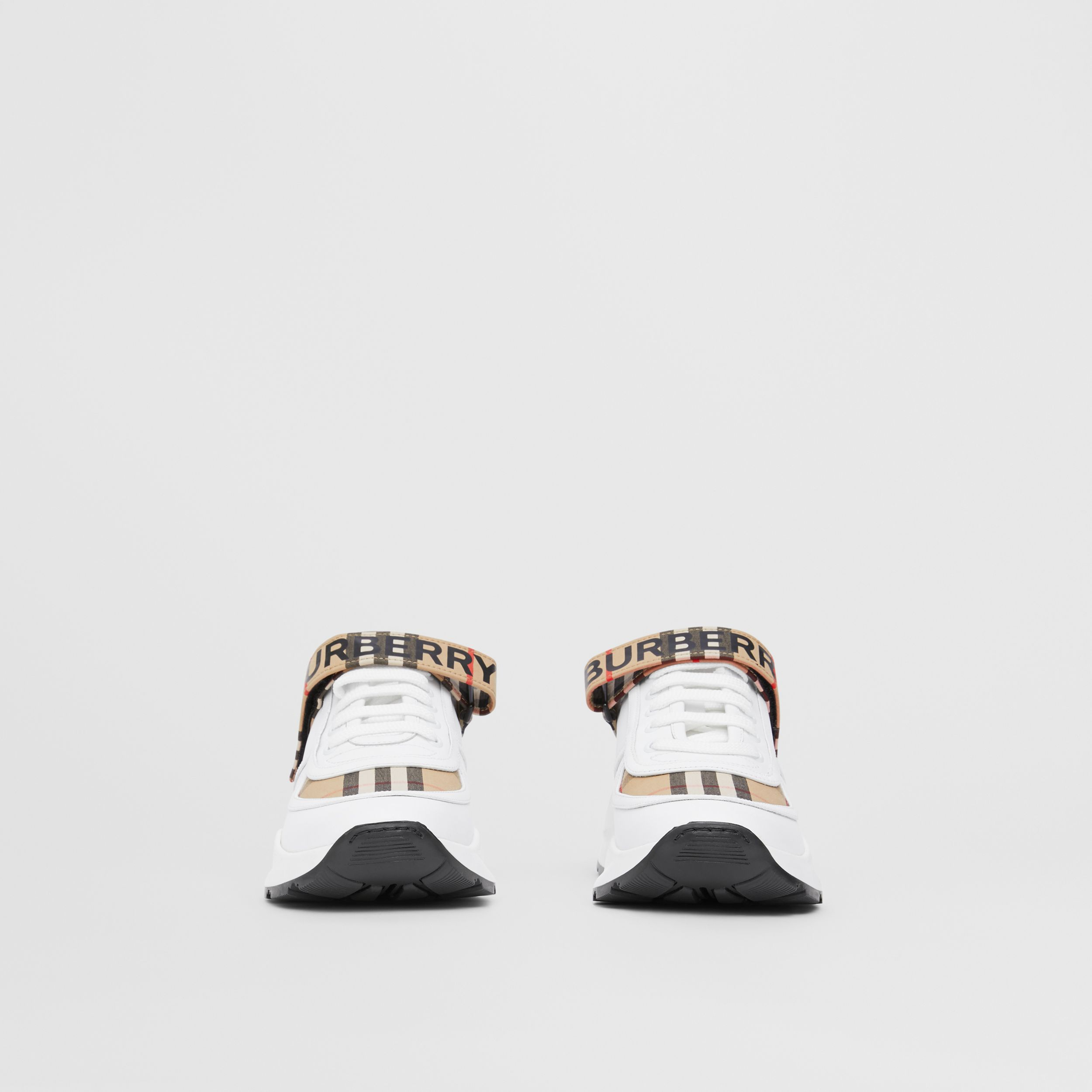Logo Print Vintage Check and Leather Sneakers in Archive Beige - Women | Burberry United Kingdom - 4
