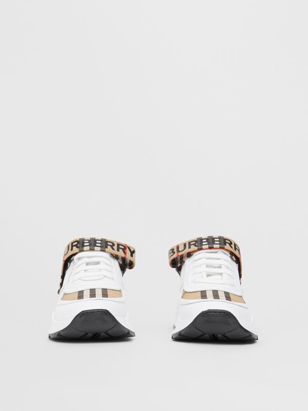 Logo Print Vintage Check and Leather Sneakers in Archive Beige - Women | Burberry - cell image 3