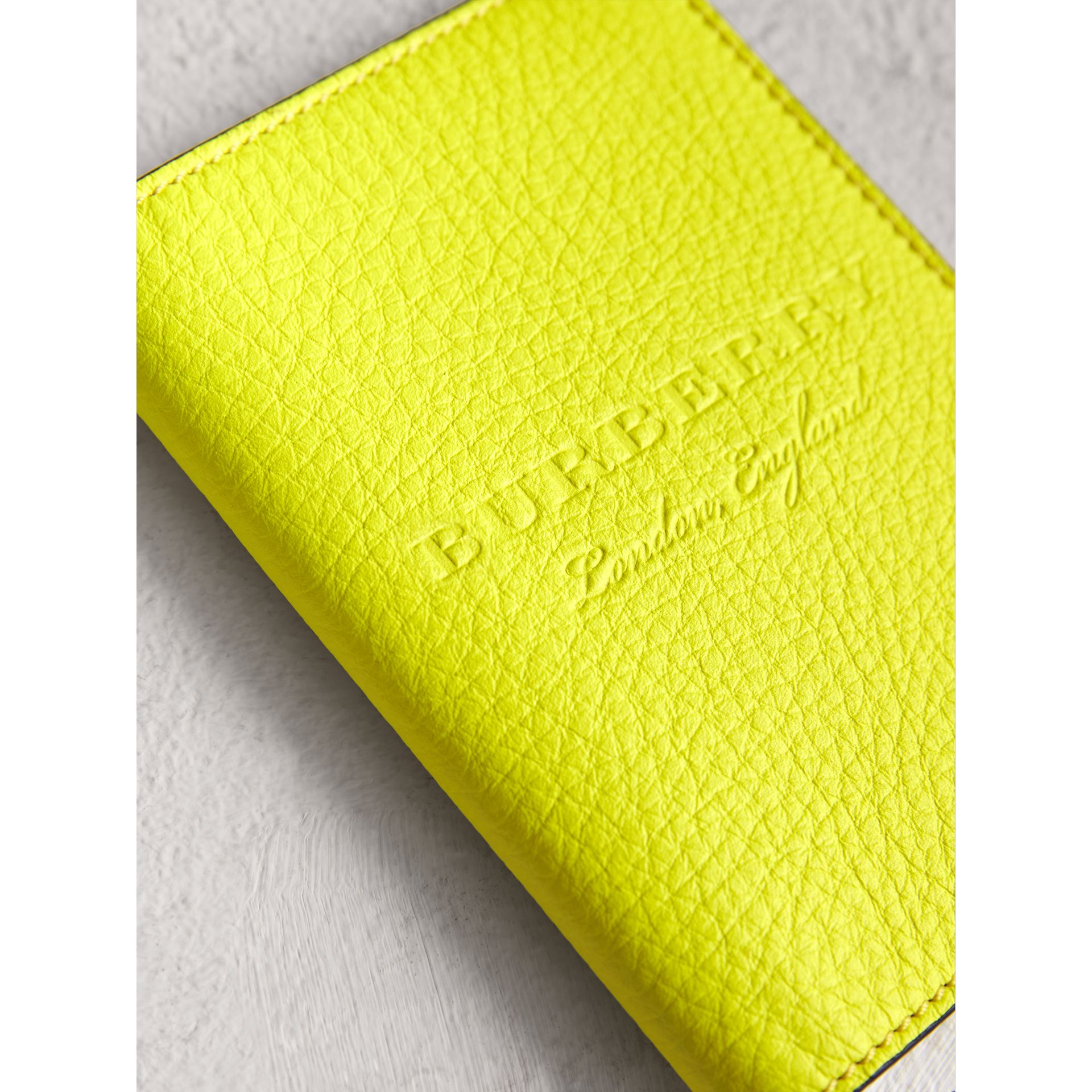Embossed Leather Passport Holder in Bright Yellow | Burberry Australia - gallery image 1
