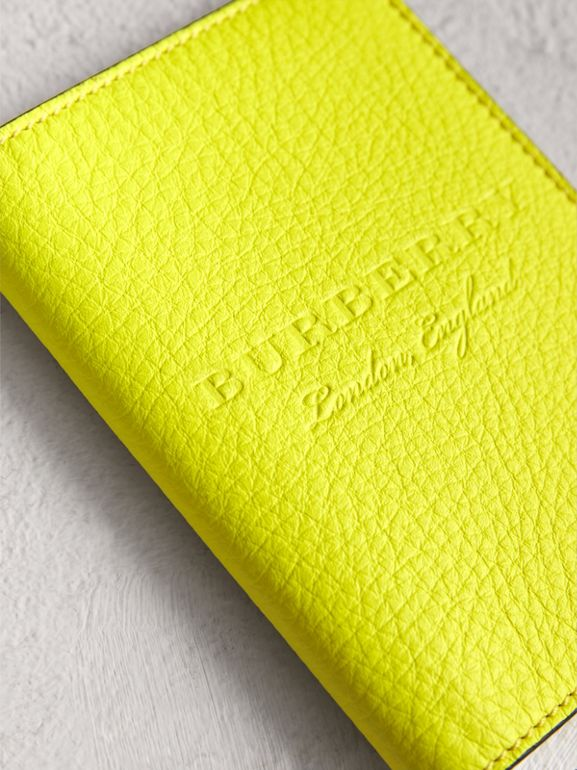 Embossed Leather Passport Holder in Bright Yellow | Burberry United Kingdom - cell image 1