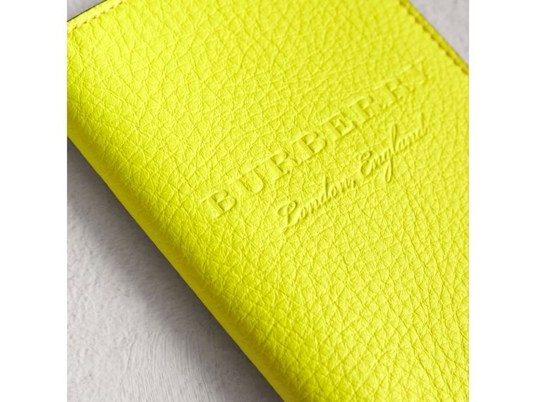 Embossed Leather Passport Holder in Bright Yellow | Burberry Australia - cell image 1