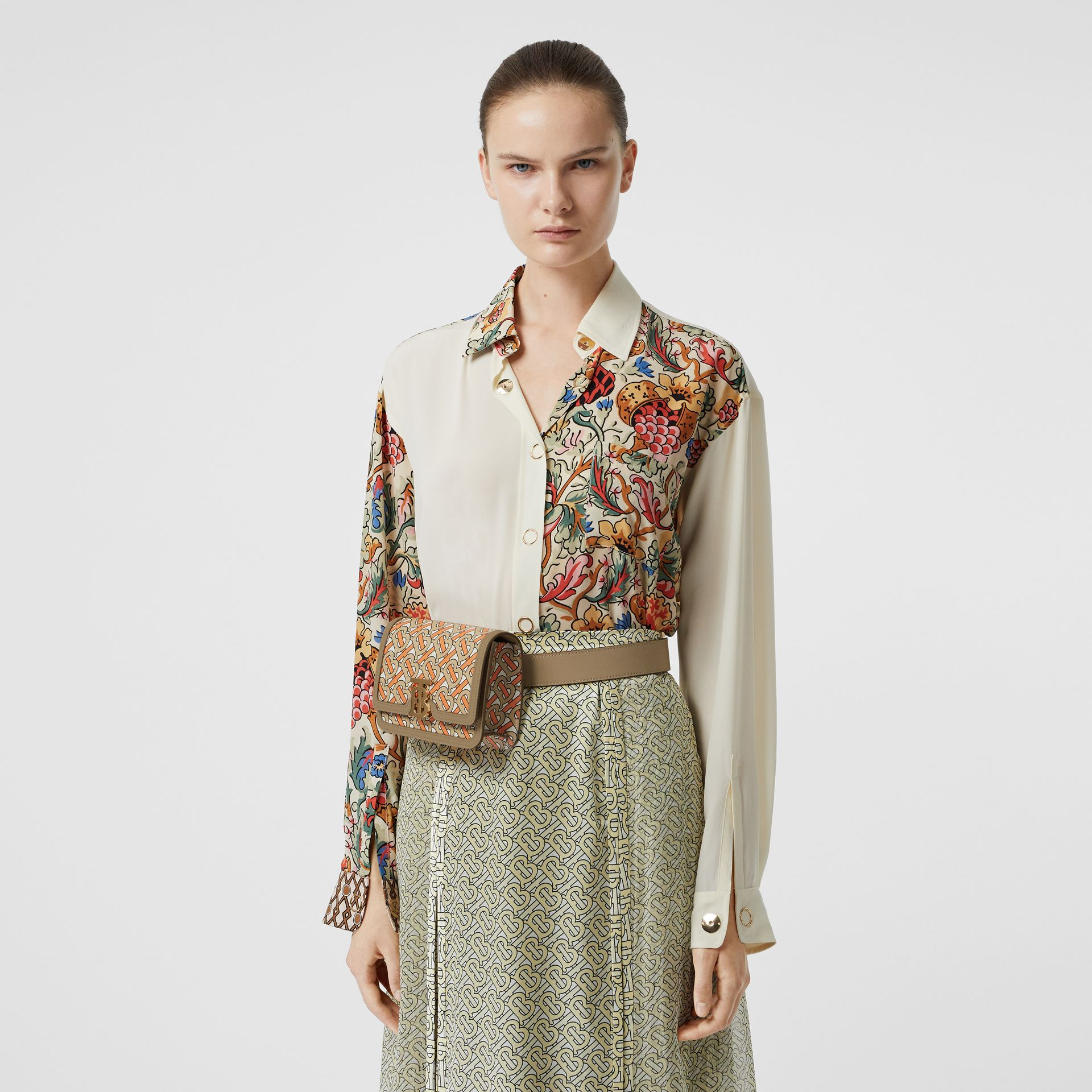 Floral Print Panel Silk Oversized Shirt in Vanilla - Women | Burberry - gallery image 6