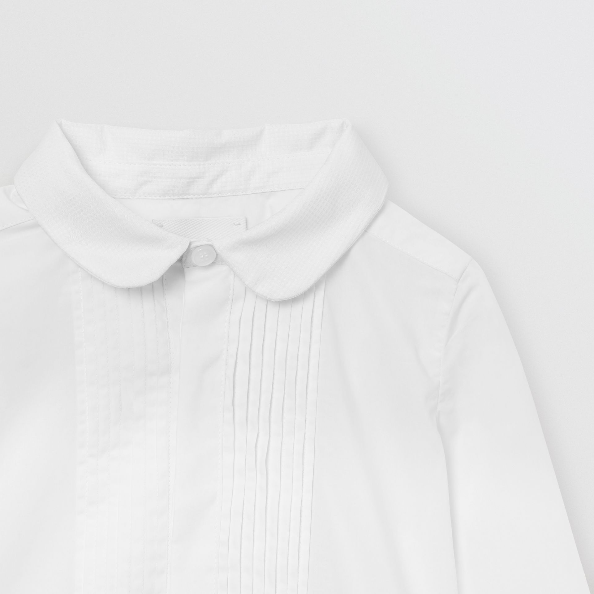 Pintuck Panel Stretch Cotton Poplin Shirt in White - Children | Burberry - gallery image 4