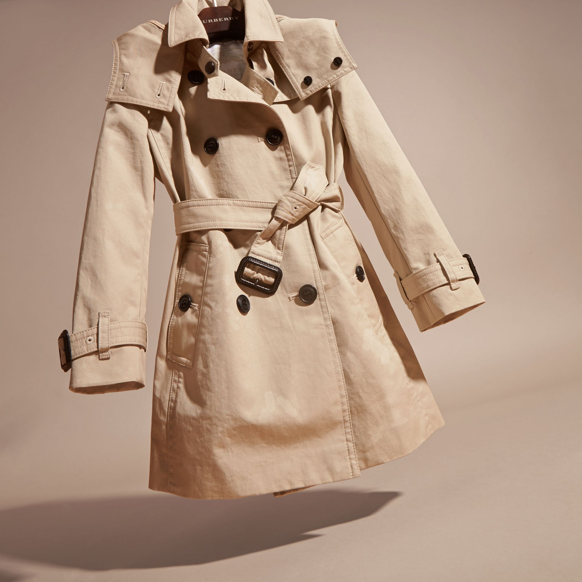 Hooded Cotton Trench Coat in Stone - Girl | Burberry Singapore - gallery image 3
