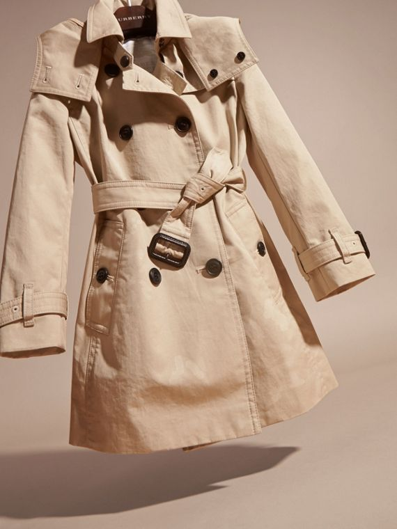 Hooded Cotton Trench Coat in Stone - Girl | Burberry - cell image 2