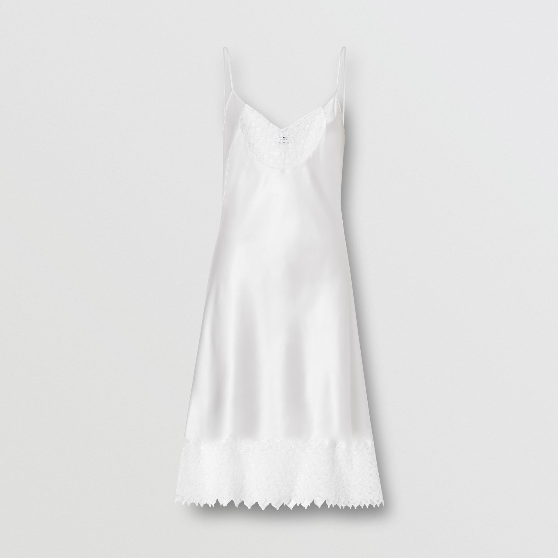 Monogram Lace Trim Silk Satin Slip Dress in Natural White - Women | Burberry - gallery image 3