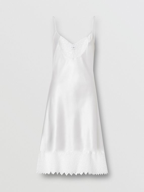 Monogram Lace Trim Silk Satin Slip Dress in Natural White