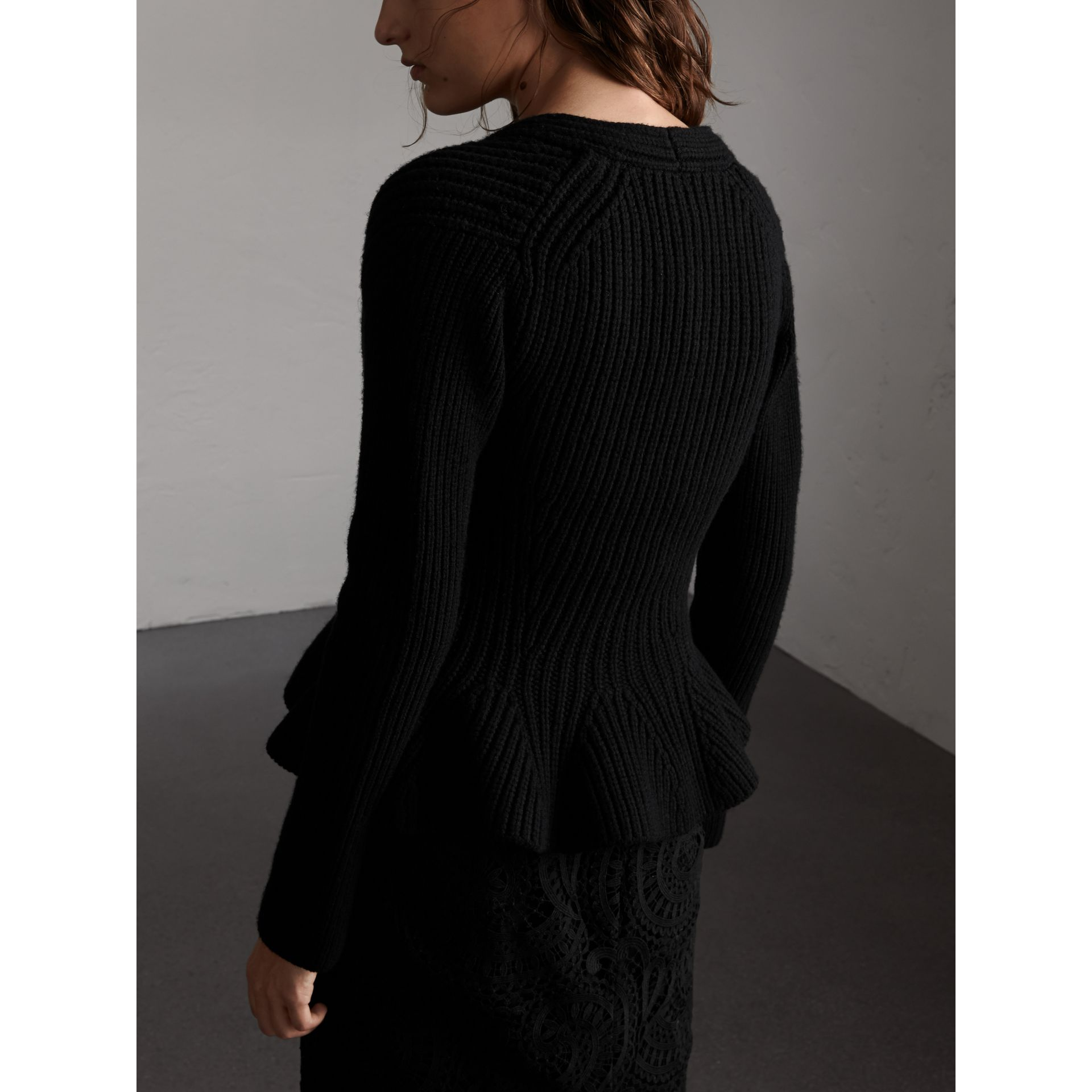 Knitted Wool Cashmere Blend Peplum Jacket in Black - Women | Burberry - gallery image 3