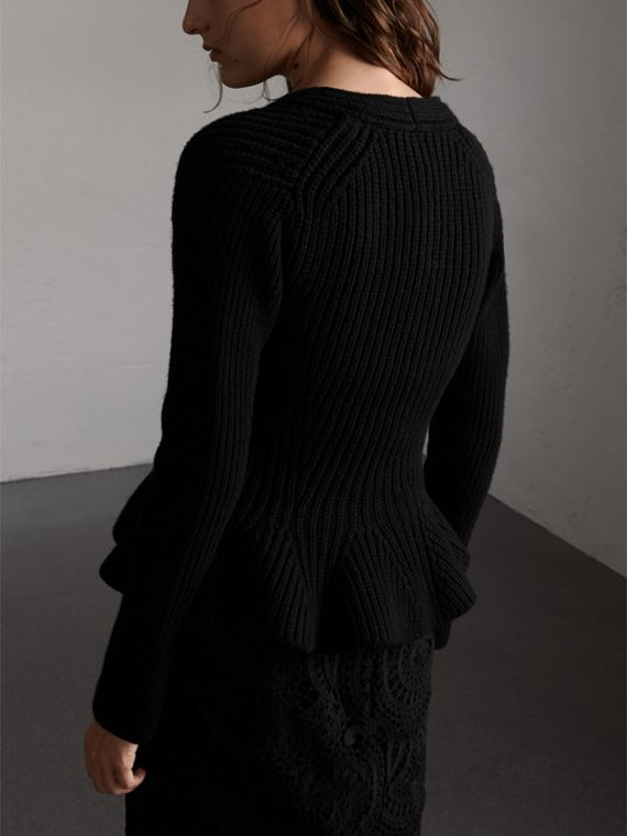 Knitted Wool Cashmere Blend Peplum Jacket in Black - Women | Burberry - cell image 2