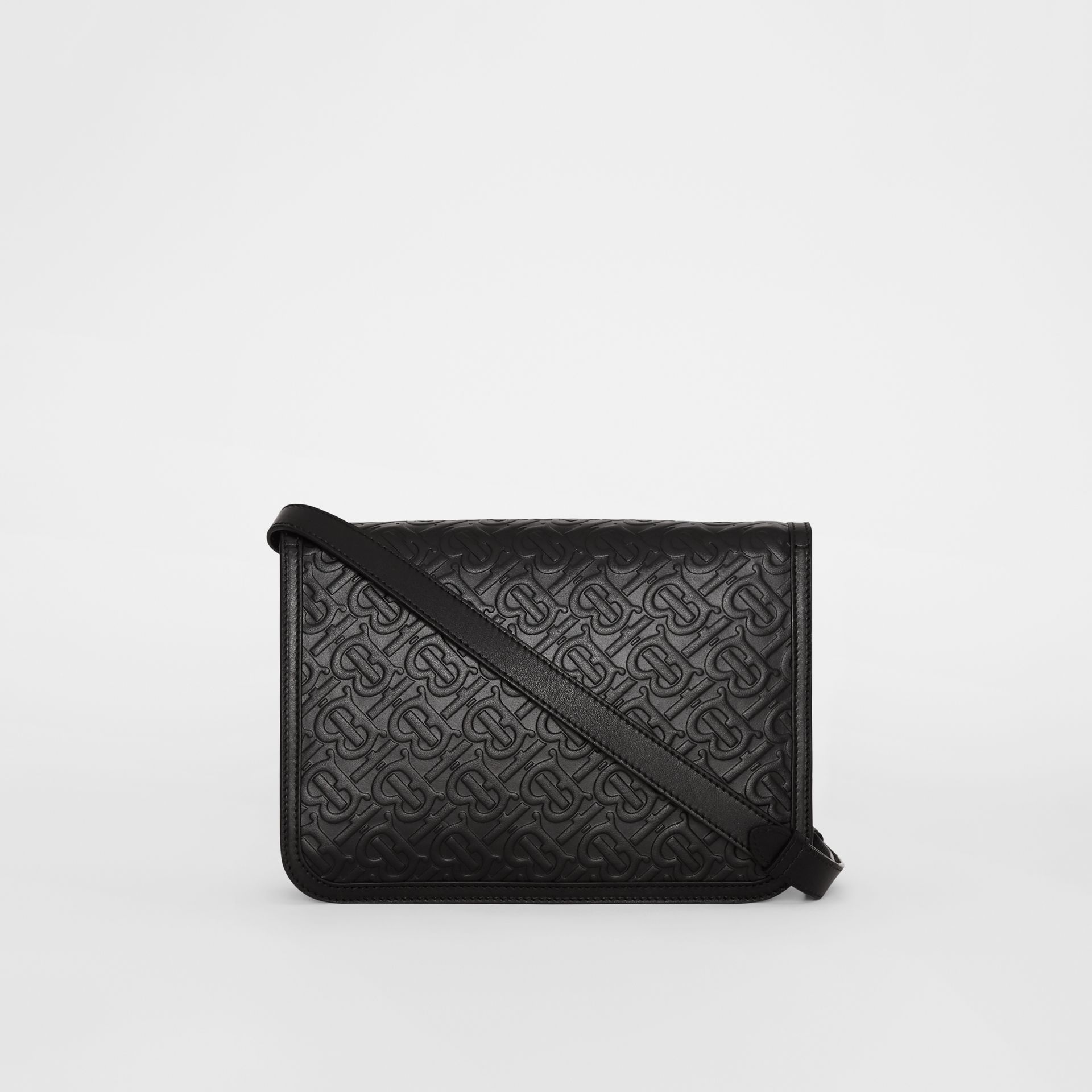 Medium Monogram Leather TB Bag in Black - Women | Burberry - gallery image 7
