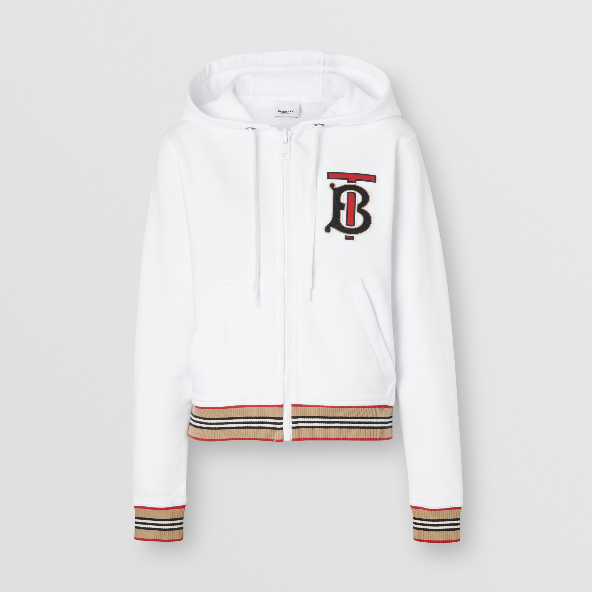 Icon Stripe Detail Monogram Motif Hooded Top in White - Women | Burberry Singapore - gallery image 3