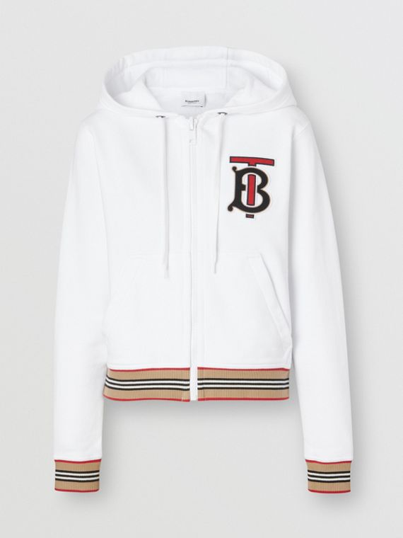 Icon Stripe Detail Monogram Motif Hooded Top in White