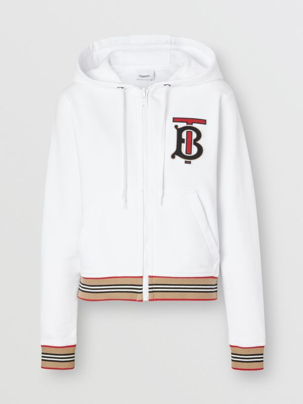 Icon Stripe Detail Monogram Motif Hooded Top in White - Women | Burberry - cell image 3