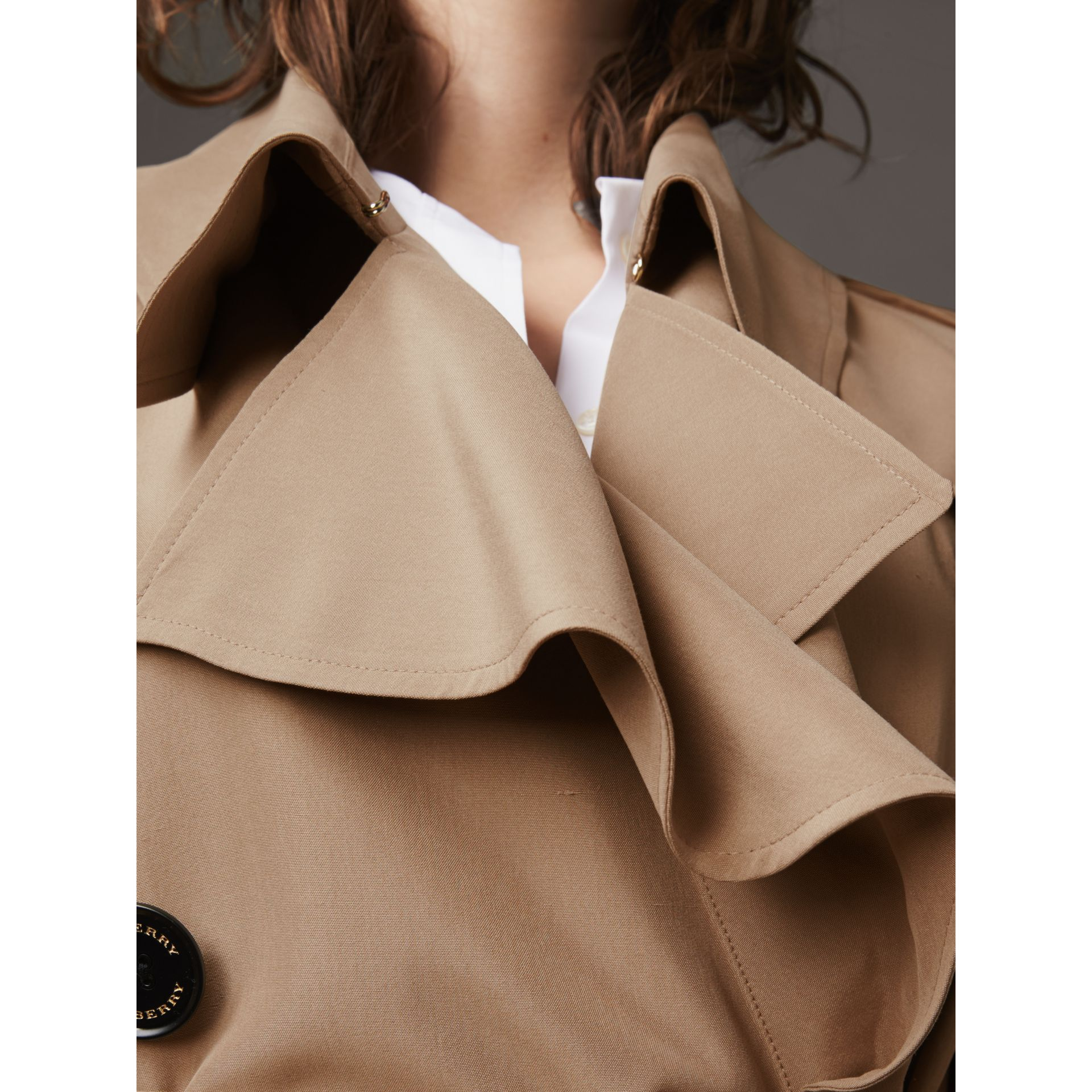 Ruffle Detail Silk Trench Coat in Honey - Women | Burberry - gallery image 5