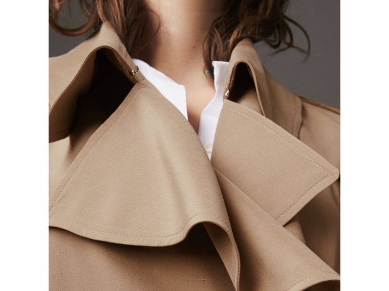 Ruffle Detail Silk Trench Coat in Honey - Women | Burberry - cell image 4