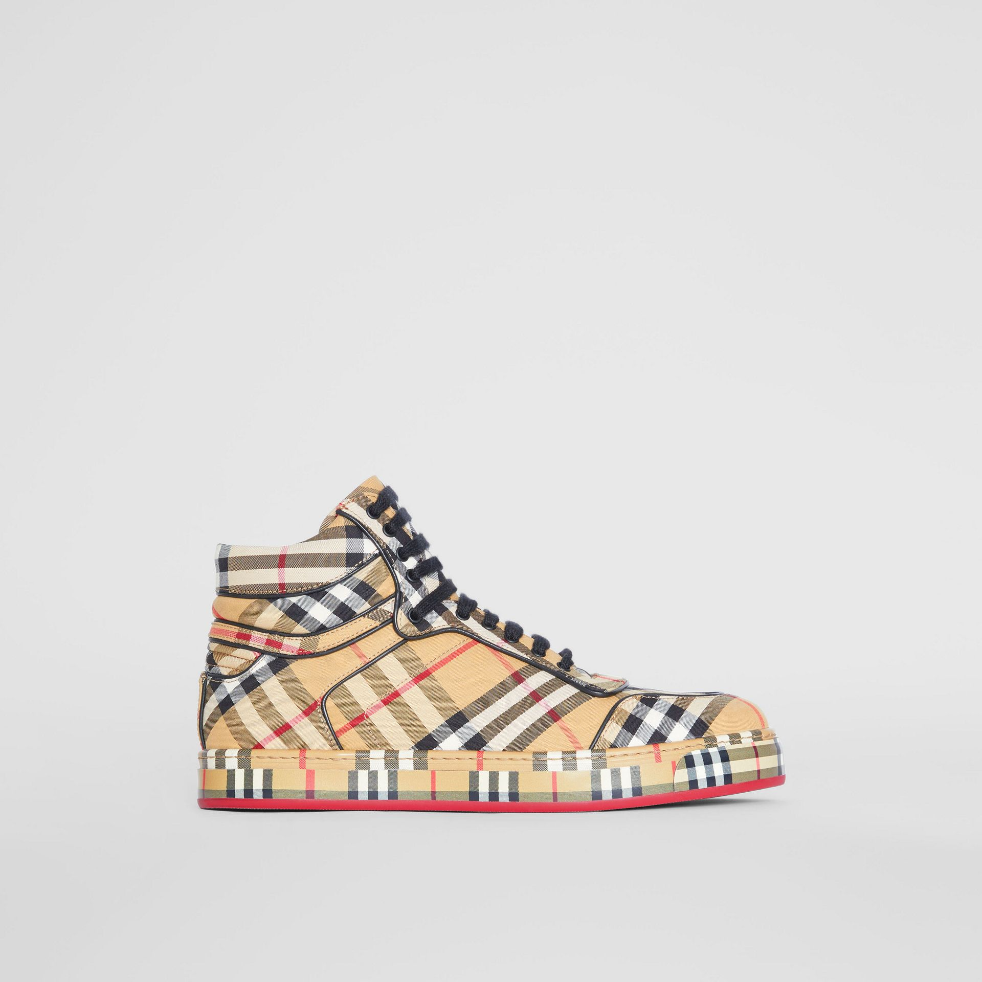Vintage Check Cotton High-top Sneakers in Antique Yellow - Women | Burberry Australia - gallery image 5