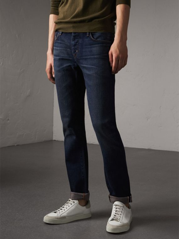 Straight Fit Brushed Denim Jeans in Vintage Blue