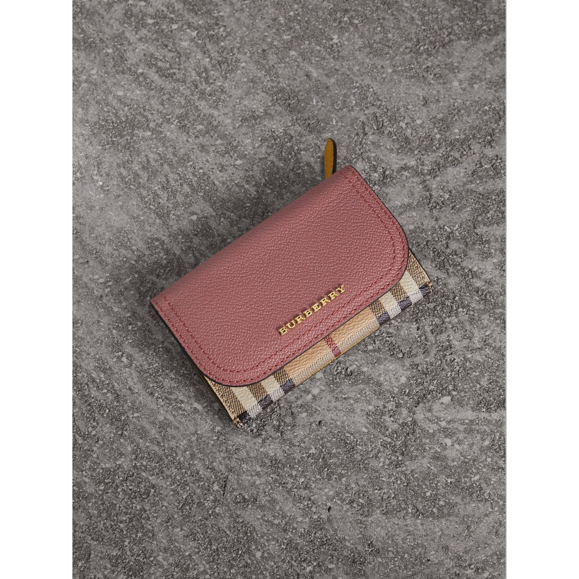 Leather and Haymarket Check Mini Wallet in Dusty Pink / Multicolour - Women | Burberry Canada - gallery image 1
