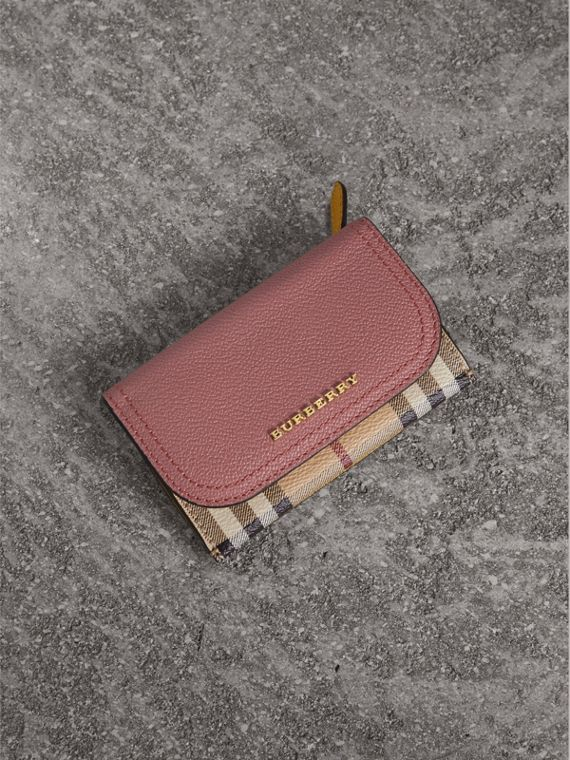 Leather and Haymarket Check Mini Wallet in Dusty Pink / Multicolour