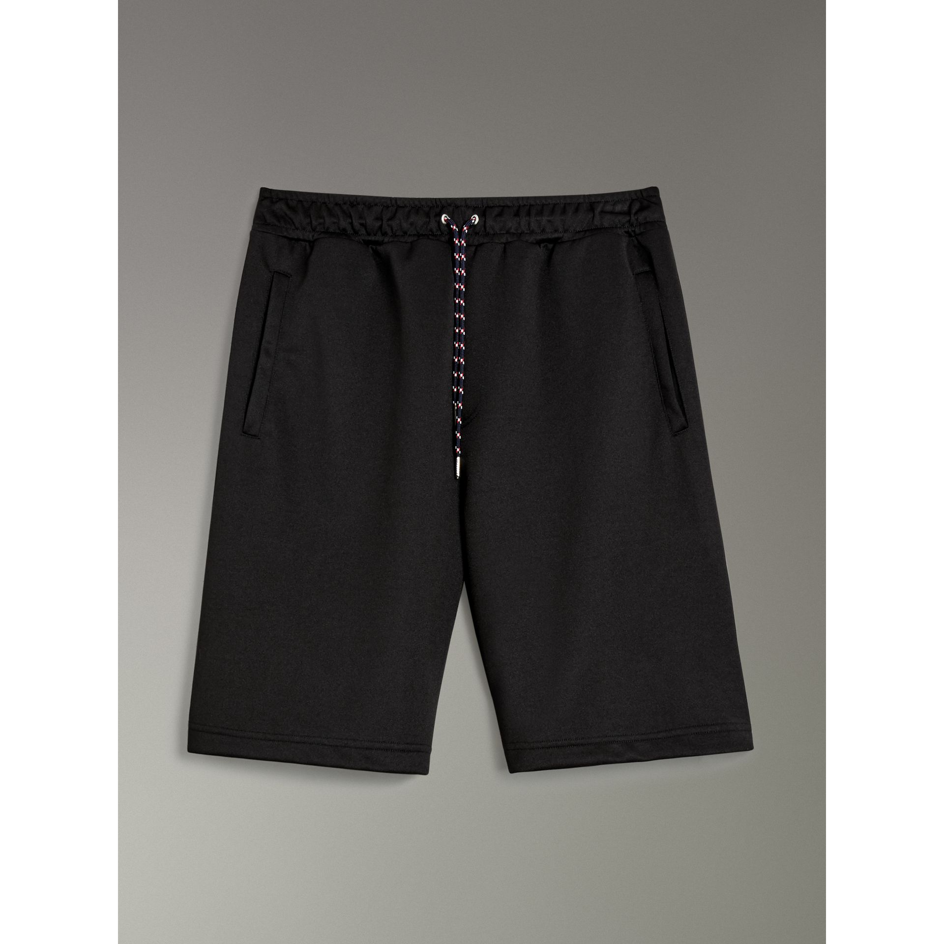 Cotton Blend Drawcord Shorts in Black - Men | Burberry - gallery image 3