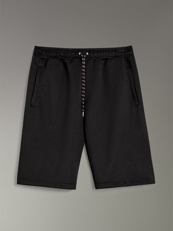 Cotton Blend Drawcord Shorts in Black - Men | Burberry - cell image 3