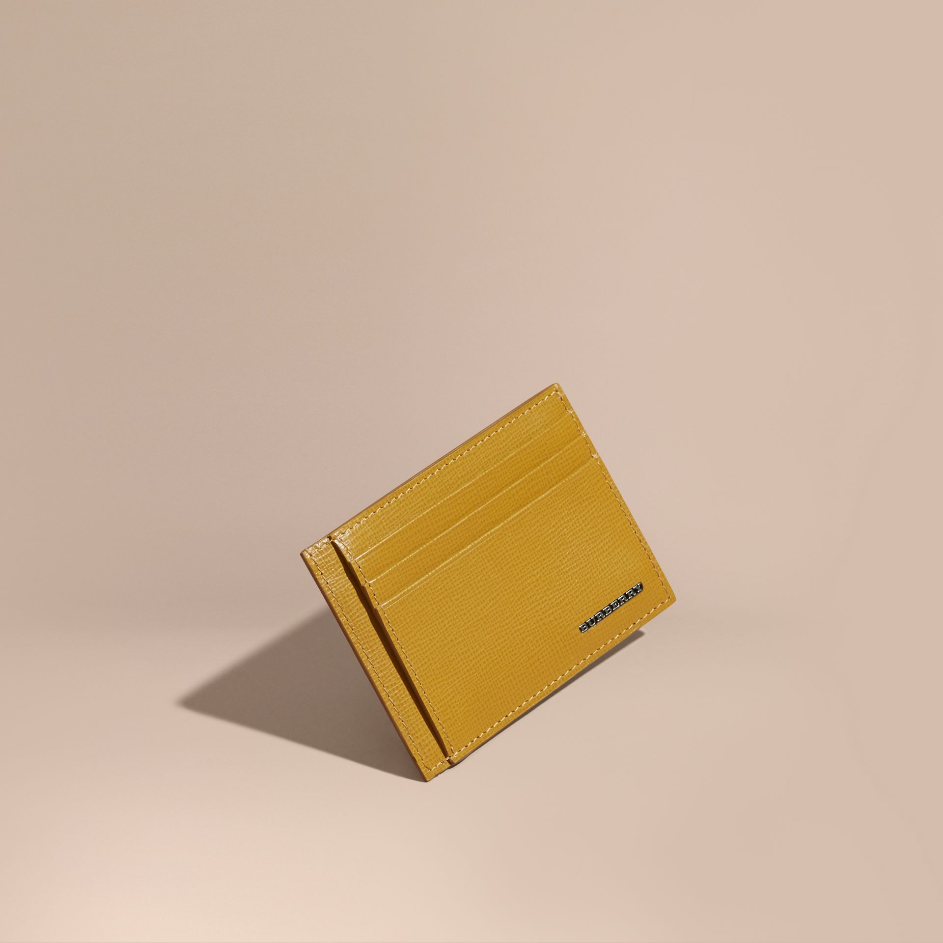 London Leather Card Case Larch Yellow - gallery image 1
