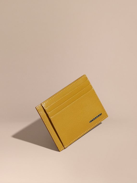 London Leather Card Case Larch Yellow
