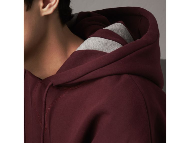 Bold Stripe Detail Oversize Hooded Sweatshirt in Deep Claret - Men | Burberry United Kingdom - cell image 4