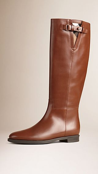 House Check Trim Leather Riding Boots