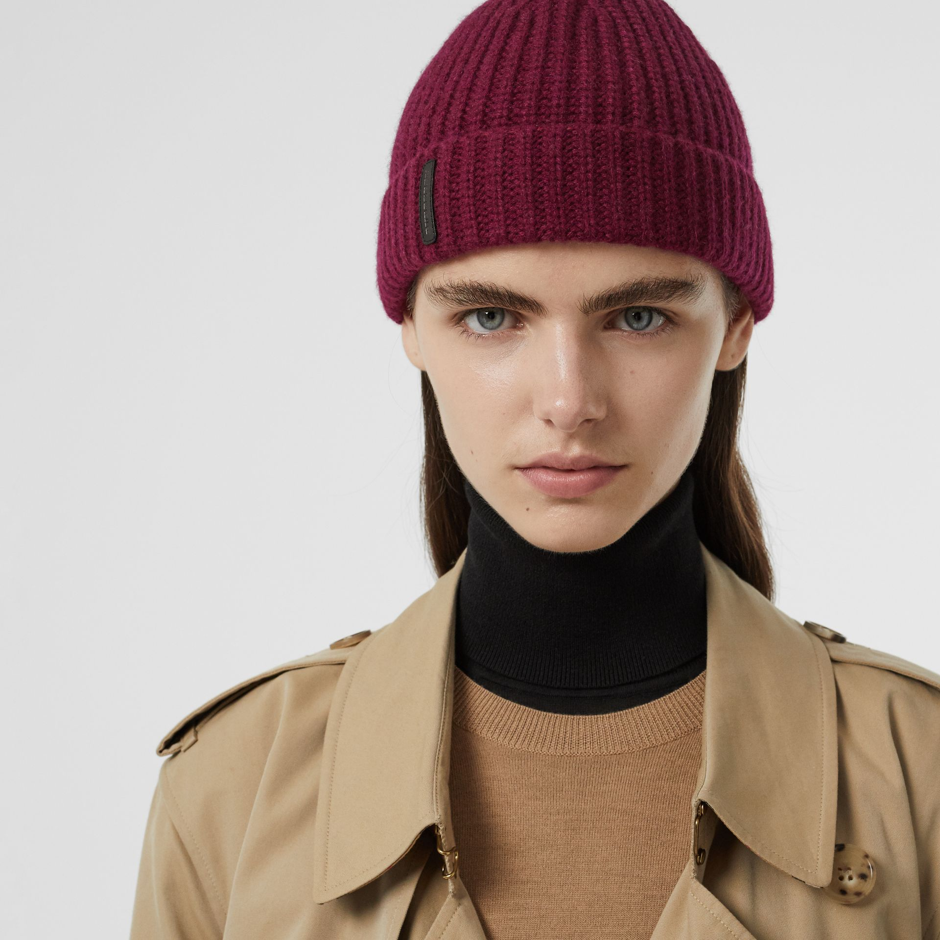 Rib Knit Cashmere Beanie in Dark Elderberry | Burberry - gallery image 2