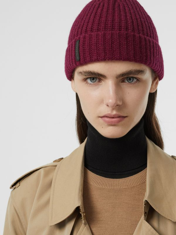Rib Knit Cashmere Beanie in Dark Elderberry | Burberry - cell image 2