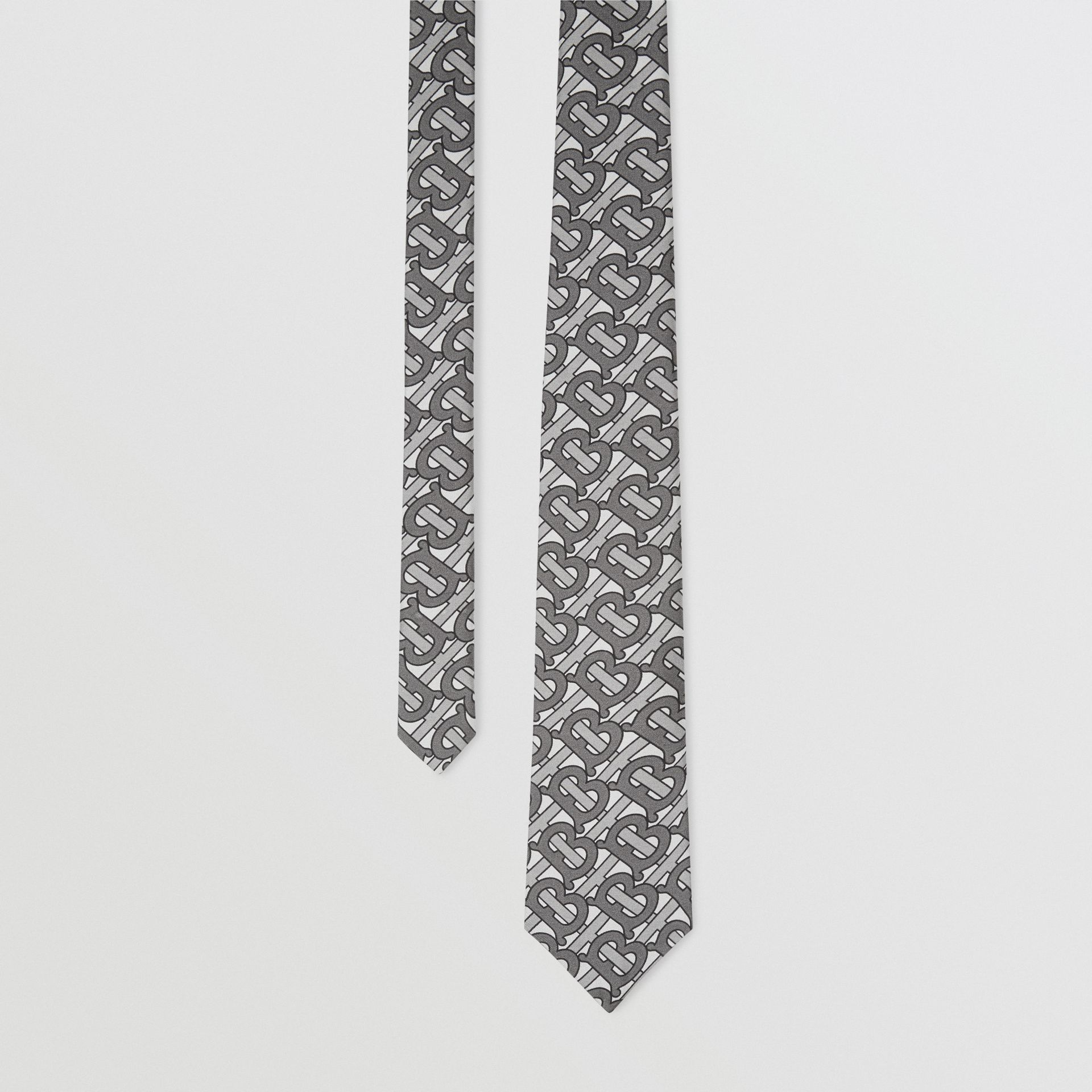 Classic Cut Monogram Print Silk Tie in Mid Grey - Men | Burberry United Kingdom - gallery image 0