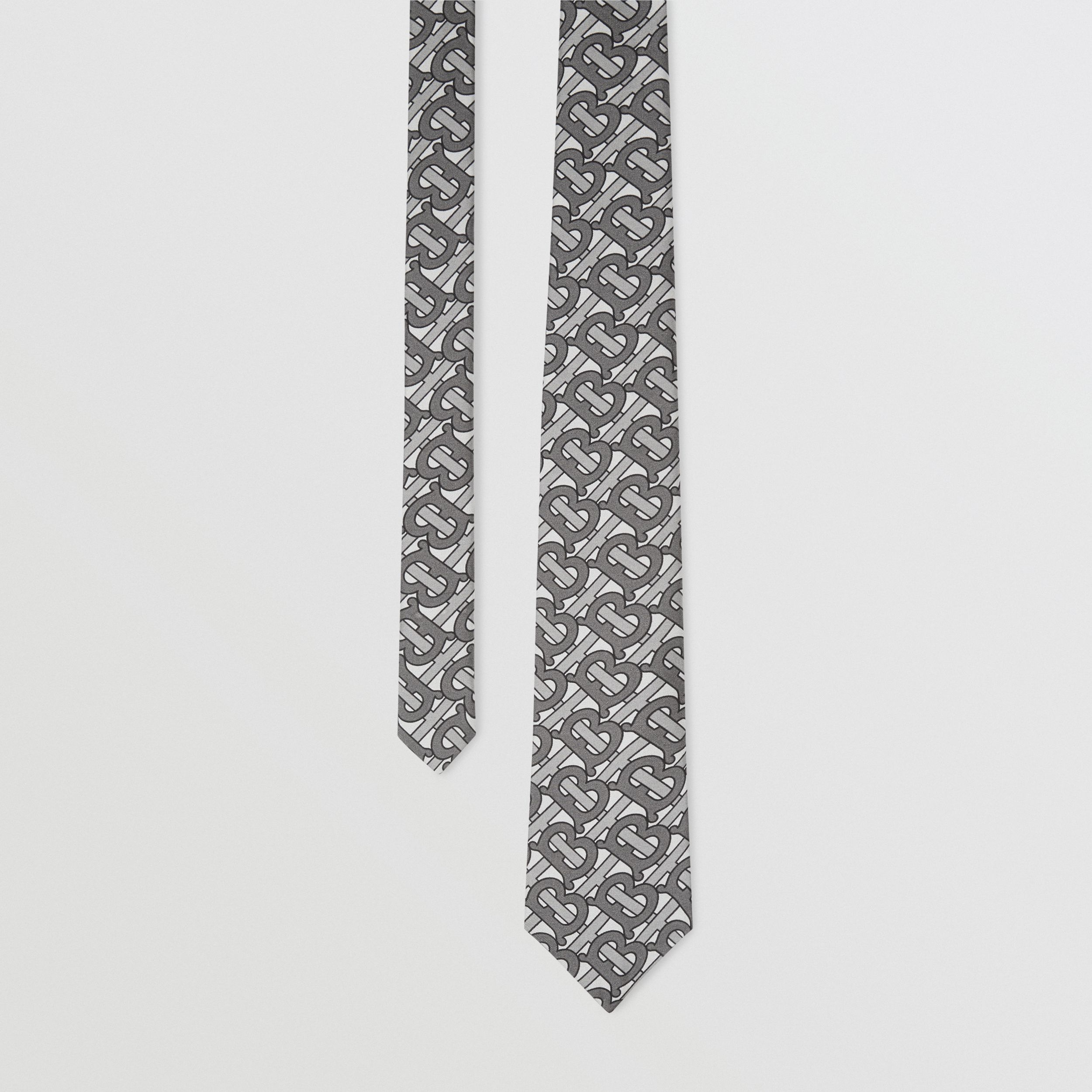 Classic Cut Monogram Print Silk Tie in Mid Grey - Men | Burberry - 1